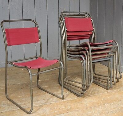 Vintage Tubular Steel & Canvas Stacking Chairs - Retro Church Chair Tube