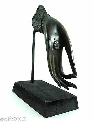 Thai Buddha Bronze Hand Bless Feng Shui With Wooden Stand Home Ornament Decor