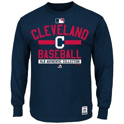 MLB Baseball Long Sleeve Shirt CLEVELAND INDIANS Authentic Collection '15