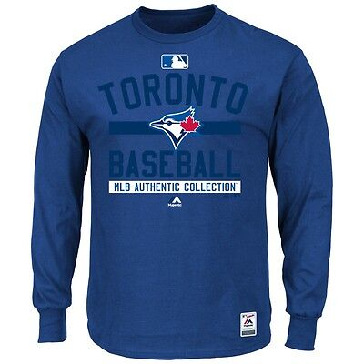 MLB Baseball Long Sleeve Shirt TORONTO BLUE JAYS Authentic Collection '15
