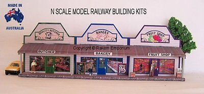 N Scale Country Butcher Bakery Fruit Shops - Model Railway Building Kit - NRCS1