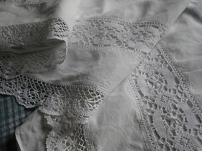 ANTIQUE FRENCH COTTON SHEET - CROCHET LACE - WHITE COTTON SHEET or CURTAIN