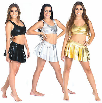 Metallic Cheer Dance Skirt- Adult Sizes S, M, L, XL Gold, Silver and Black New
