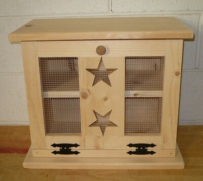 Handcrafted Solid Pine Bread Box with Stars