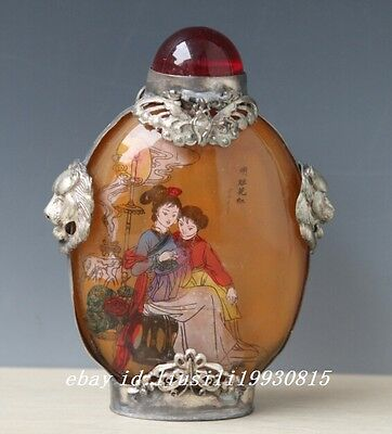 Chinese tibet Silver Glass Inside Painting Belle&Flowers Snuff Bottle