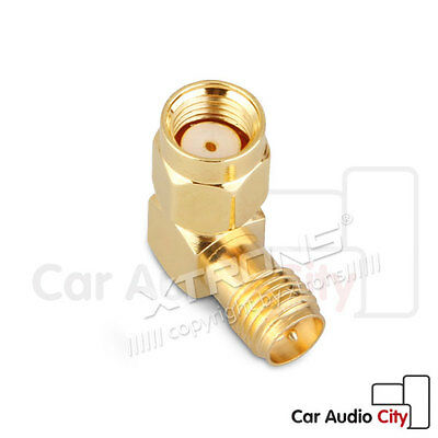 RP-SMA Plug to RP-SMA Jack 90° Right Angle Connector Adaptor Adapter Gold Plated