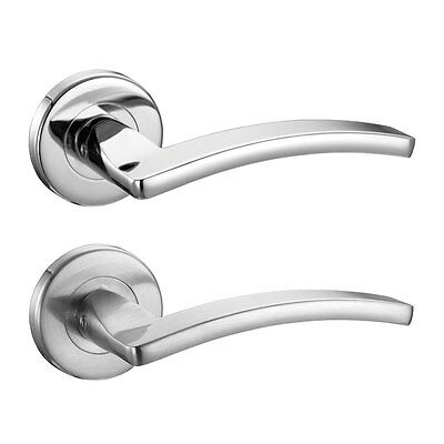 Toledo Internal Door Handles Sets Lever On Rose Polished or Satin Chrome Handles