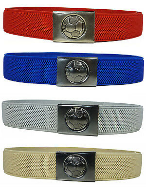 Kids Belts. Junior/Childrens 5-15 Yrs Elasticated Belt with Football Clip Design