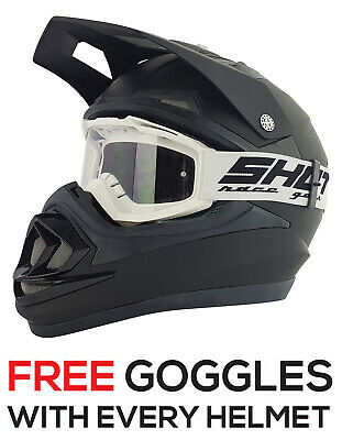 New Matt Black Adult Motocross Mx Enduro Quad Atv Crash Helmet Plus Free Goggles