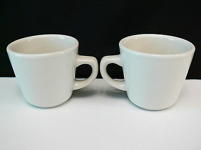 Pair Of Crest C/M Restaurant Ware Coffee Cup Mugs Plain White Green Label