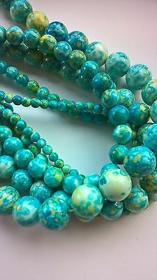 Natural gemstone beads,Jade,mixed colour(blue),4-12mm
