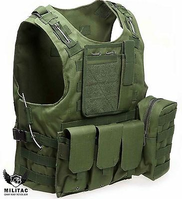 Green Tactical Vest  / Combat Assault Airsoft Army Molle Attachment Rig Top