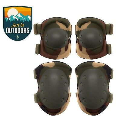 Black Military Tactical Knee +Elbow Pad set. Paintball/Airsoft Protection Pads