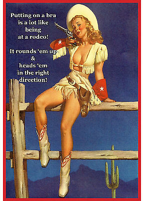 """Blank Note Card - Vintage Cowgir! """"PUTTING ON BRA IS LIKE GOING TO RODEO"""""""