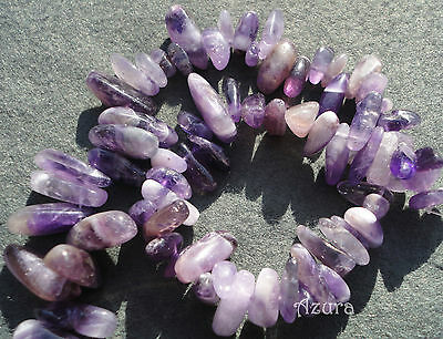 Natural Purple Amethyst Gemstone Semi-Precious Stick Beads 12-20mm Nugget Chips