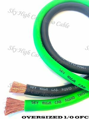 50 ft OFC 1/0 Gauge Oversized 25' GREEN & 25' BLACK Power Ground Wire Sky High