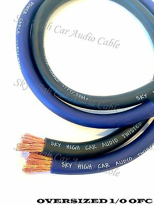 20 ft OFC 1/0 Gauge Oversized 10' BLUE & 10' BLACK Power Ground Wire Sky High