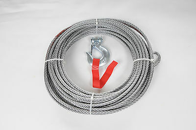 WINCH WIRE ROPE AND HOOK 26Metres x 9.5mm recovery / offroad NEW
