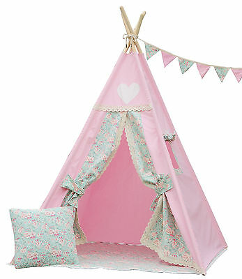 Teepee Tipi Kid teepee tent play tent, Pink heart teepee with poles,mat &flags