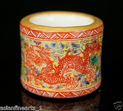 Chinese Antique Old Qing Dynasty Thumb Ring Size 12/21.5mm Qianlong Mark #627