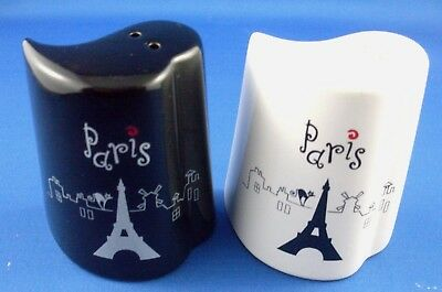 PARIS Novelty Black & White SALT & PEPPER SHAKERS Set Kitchen VG - In Australia
