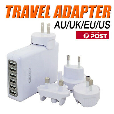 6 Ports Universal USB Travel Wall Charger AC Power Adapter AU/UK/US/EU Plug OZ