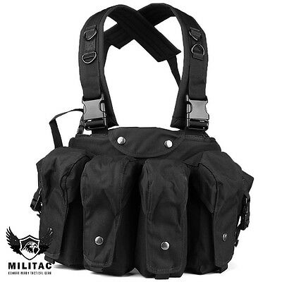 Black Tactical Vest  Webbing Belt / Army Chest Rig/ Airsoft, Paintball Ammo Rig