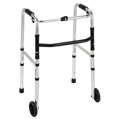 Lightweight aluminium folding mobility zimmer walking frame with 2 wheels