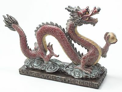 "Dragon Statue Oriental Feng Shui Decor 12"" Large Red Business Success US Seller"