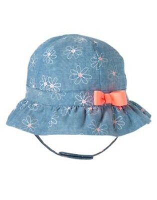 GYMBOREE DAISY AND THE TIGER CHAMBRAY w/ DAISES N PINK BOW SUN HAT 0 3 6 12 NWT