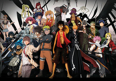Sticker Autocollant Poster A4 Manga One Piece Fairy Tail Death Note Naruto.
