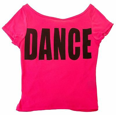 "Hot Pink & Black  Hip Hop ""DANCE"" Open Back T-shirt- Child Sizes S, M, L New"