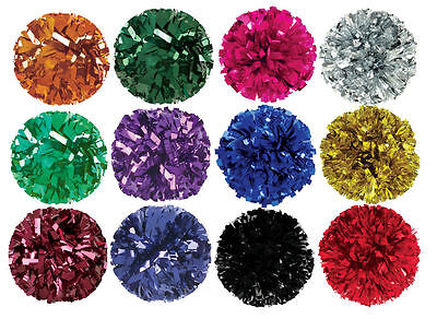 "Poms Cheerleading 6"" Strands Solid Metallic Colors FREE SHIP"