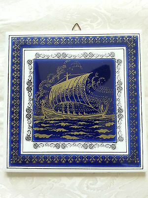Vintage Hand Made Ceramic Tile Art by Thanos Moschato Greece Ancient Greek Ship