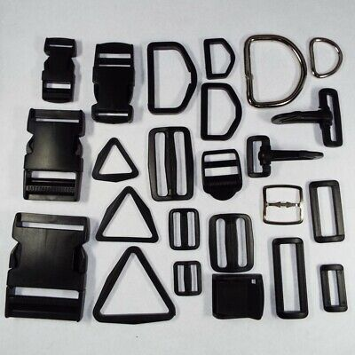 Plastic Metal Webbing Strap Fitting Buckle D Ring Clip Slider 20 25 38/40 & 50mm