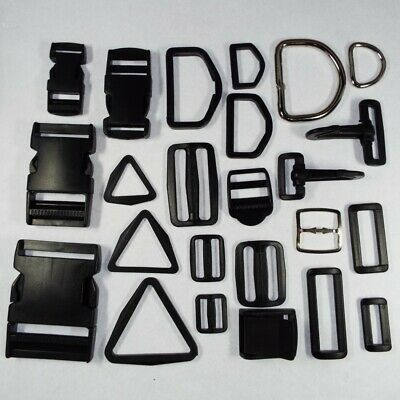 Plastic & Metal Webbing Strap Fitting. Buckle,D Ring,Clip,Slider 20,25,38 & 50mm