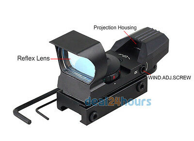 Holographic 4 Reticle 33mm Red Green Dot Sight 20mm Picatinny Weaver Rail Scope