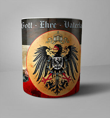 WWI German Patriotic Mug 1914/18 God Honor Fatherland Soldier WW1 coffee mug red