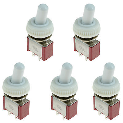 5 x On/Off Mini Small Toggle Switch + White Waterproof Cover Mini Small SPST 12V