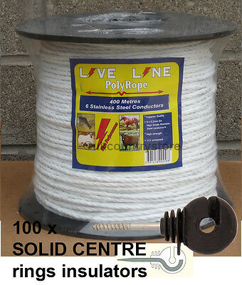 White Electric Fence Rope 400m & 100 Ring Insulators - Horse Fencing Poly Rope