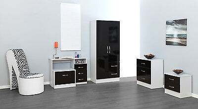 Black Gloss & Ash White Bedroom Units & Sets + 3ft single or Ottoman Storage Bed