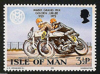 Alan Holmes Doubles winner Manx GP (1957) on Norton motorcycle - U/M
