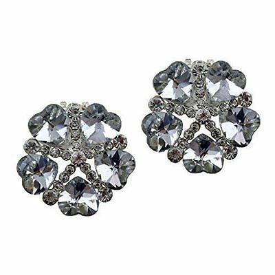 "Silver Jewelled Shoe Clips, Shoe Embellishments, Brooches (1 Pair) ""Evie"""