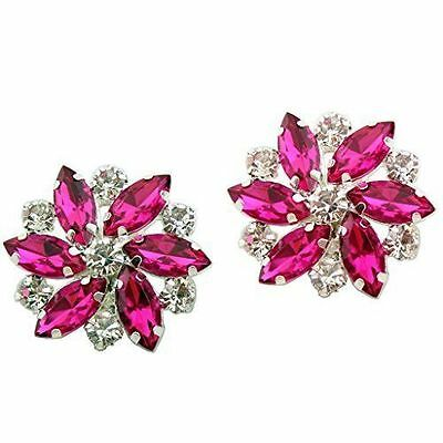 "Silver & Pink Jewelled Shoe Clips, Shoe Embellishments, Brooches (1 Pair) ""Ellen"