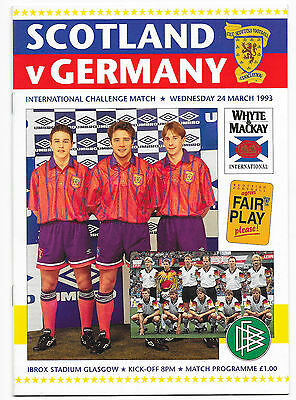 Scotland v Germany, 1992/93 - International Friendly Match Programme