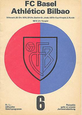 FC Basel v Athletico Bilbao, 1976/77 - UEFA Cup 2nd Round Match Programme.