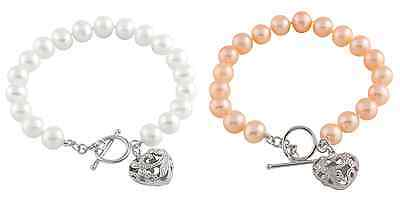 White 8-9mm pearl bracelet with heart shape charm White or Peach BSR-18