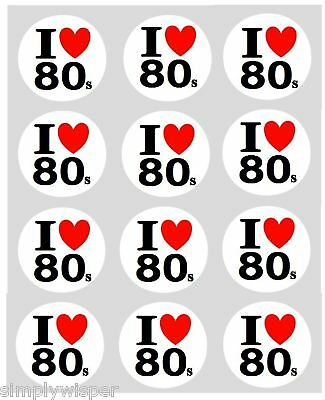 12 I LOVE 80s Cupcake Decoration Edible Printed Cake Toppers Pre Cut 40mm