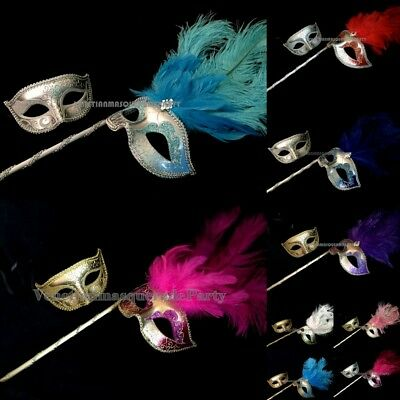 Halloween Costume Party Dress up Prom Party Feather Stick Mask Pair Collection