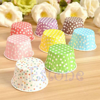50 x Retro Vintage Polka Dot Paper Cupcake Muffin Cases Baking Cups New